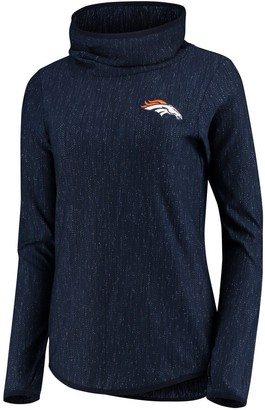 Antigua Women's Heathered Navy Denver Broncos Equalizer Cowl Neck Pullover Sweatshirt