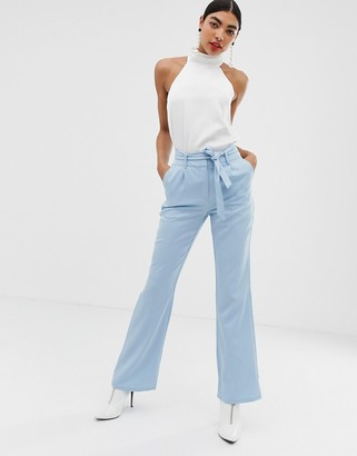 UNIQUE21 pinstripe tailored pant with belt-Blue