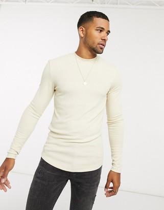 ASOS DESIGN muscle fit long sleeve t-shirt in fancy rib in beige