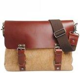 HINDAWI Vintage Genuine Leather Canvas Messenger Crossbody Shoulder Bag
