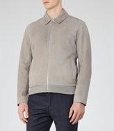 Reiss Reiss Holt - Suede Collared Jacket In Grey