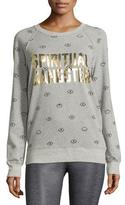 Spiritual Gangster Metallic-Logo Evil Eye Sweatshirt, Heather Gray