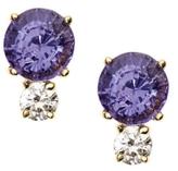Purple Sapphire and Diamond Studs