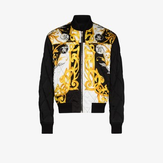 Versace Baroque print quilted bomber jacket