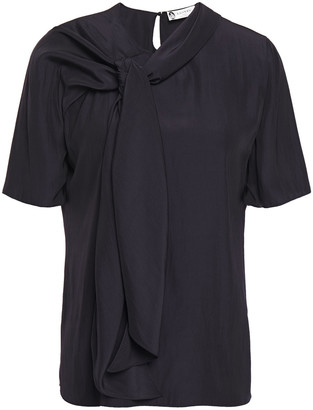 Lanvin Knotted Crinkled-cady Top