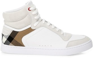 Burberry Reeth Vintage Check Leather High-Top Sneakers