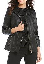 KARL LAGERFELD PARIS Hip Length Scuba Leather Zip Front Jacket