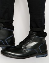 Dune Lace Up Boots In Black Leather