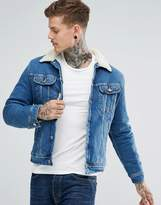 Lee Sherpa Rider Denim Jacket Mid Wash