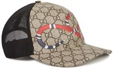 Gucci Gg Monogrammed Snake-print Cap