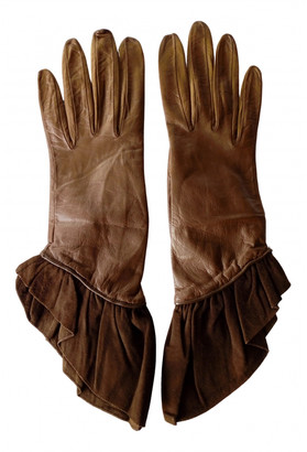 Christian Dior Camel Leather Gloves