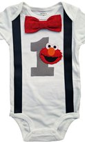 Perfect Pairz Baby Boys 1st Birthday Outfit - Elmo Bodysuit