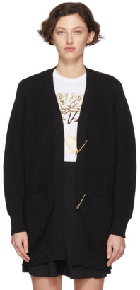Versace Black Wool Safety Pin Cardigan