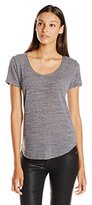 Michael Stars Women's Triblend Short Sleeve Scoop Neck Top with Curve Hem
