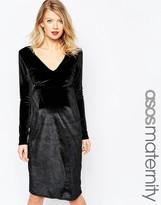 Asos Midi Velvet Pencil Dress with V-Neck