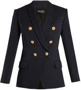 Balmain Double-breasted shawl-collar worsted-wool blazer