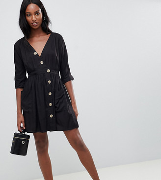 Asos Tall DESIGN Tall casual mini dress with pockets & side buttons-Black