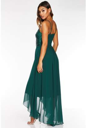Quiz Sequin Square Neck Chiffon Dip Hem - Green