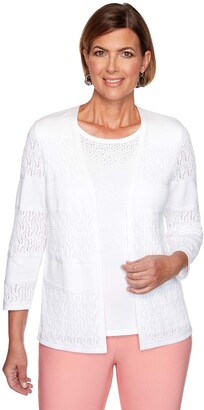 Alfred Dunner Women's Petite Biadere Pointelle Cardigan