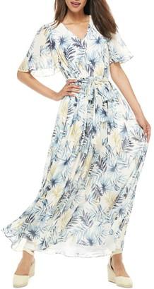 Gal Meets Glam Kiki Leaf Print Chiffon Maxi Dress