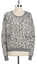 DKNY Crinkled Cotton Leopard Sweater