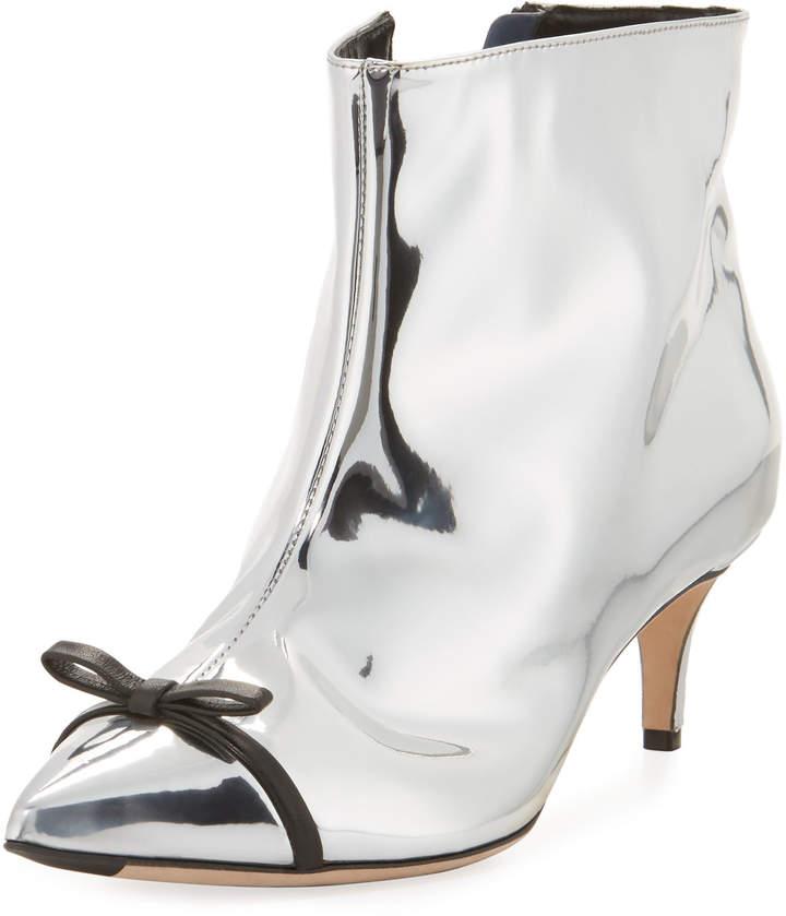 Marco De Vincenzo Metallic Point-Toe Bow Boot