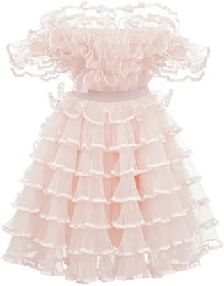 Giambattista Valli Off-The-Shoulder Tulle Mini Dress