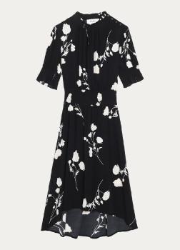 BA&SH BA & SH - Black Floral Print Poppy Dress - 0 | black | viscose - Black/Black