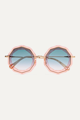 Chloé Round-frame Gold-tone And Acetate Sunglasses - Pink