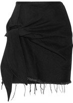 Marques Almeida Marques' Almeida - Knotted Frayed Denim Mini Skirt - Black