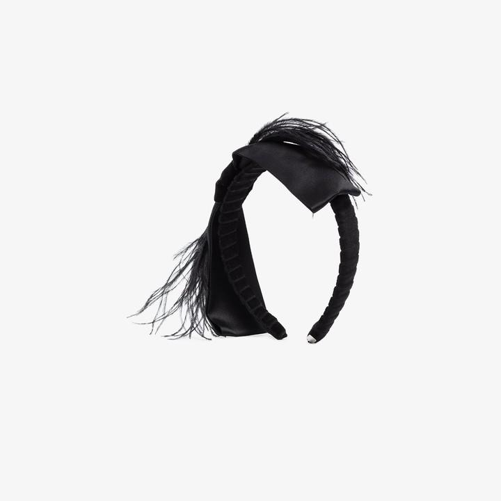 Gigi Burris Millinery Black Bernadette feather headband