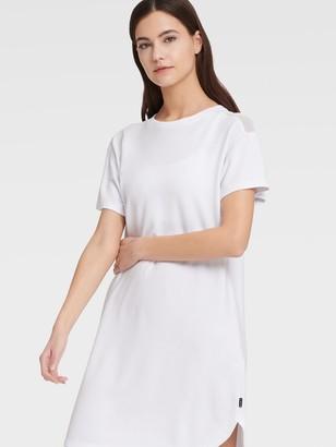 DKNY Women's Mesh Blocked Tee Dress - White - Size XL
