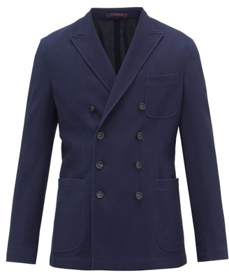 The Gigi - Ziggy Double-breasted Knitted Cotton-blend Blazer - Navy