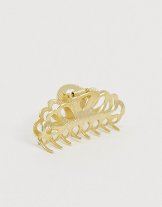 ASOS DESIGN hair clip claw with cute cut out design in gold tone
