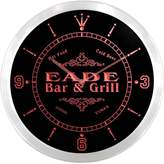 AdvPro Clock ncu12701-r EADE Family Name Bar & Grill Cold Beer Neon Sign LED Wall Clock