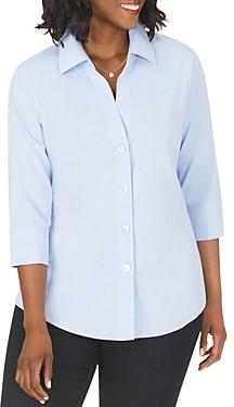 Foxcroft Plus Paityn Three-Quarter Sleeve Poplin Shirt