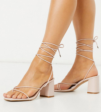 Raid Wide Fit Jennifer super strappy heeled sandals in pink