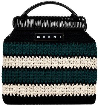 Marni Market Striped Branded Tote Bag