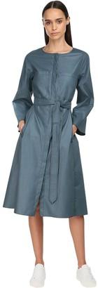 Cotton Poplin Midi Dress W/ Belt