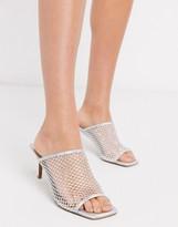 Asos Design DESIGN Harmony embellished mesh mid-heeled sandals in silver iridescent