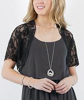 42pops 42POPS Women's Boleros BLACK - Black Floral Short-Sleeve Lace Bolero - Women
