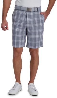 Haggar Men's Cool 18 PRO Classic-Fit Plaid Flat- Front Shorts