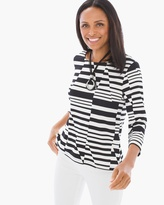 Chico's Abstract Linear Stripe Top