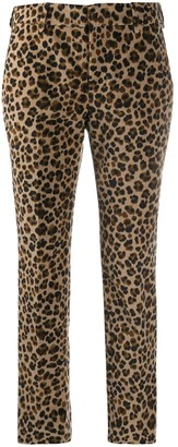 Pt01 Cropped Leopard-Print Trousers