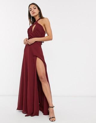 Asos Design DESIGN halterneck pleat skirt ruched bodice maxi dress-Red