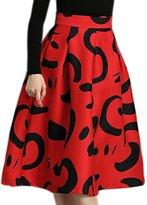 uxcell Women Elastic Waist Novelty Prints Pleated Knee Length Full Skirt