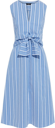 Theory Tie-front Layered Striped Cotton-blend Poplin Dress