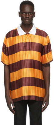 Burberry Orange and Burgundy Pleated Polo