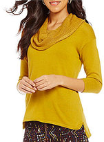 Multiples Cowl Neck 3/4 Sleeve Solid Tape Yarn Hi-Low Sweater