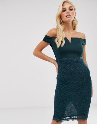 AX Paris lace bardot bodycon dress-Green
